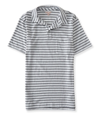 Aeropostale Mens Striped Pocket Rugby Polo Shirt