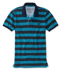 Aeropostale Mens A87 Textured Striped Rugby Polo Shirt