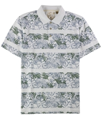 Tasso Elba Mens Floral Striped Rugby Polo Shirt