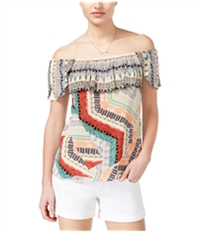 American Rag Womens Printed Off-The-Shoulder Pullover Blouse