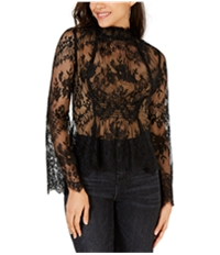 Leyden Womens Sheer Lace Pullover Blouse