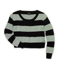 Ecko Unltd. Womens Metallic Stripe Open Neck Knit Sweater