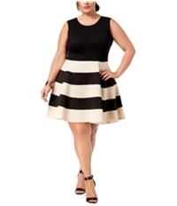City Studio Womens Blocked Stripe Cocktail Dress