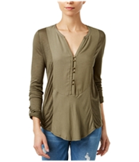 Lucky Brand Womens Roll-Tab Knit Blouse