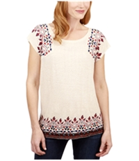 Lucky Brand Womens Embroidered Yoke Basic T-Shirt