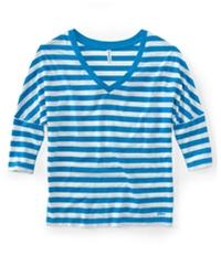 Aeropostale Womens V-Neck Stripe 3/4 Sleeve Graphic T-Shirt
