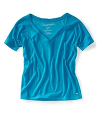 Aeropostale Womens Solid V-Neck Graphic T-Shirt