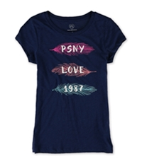 Aeropostale Girls Glitter Feathers Graphic T-Shirt