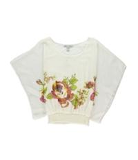 American Rag Womens Floral Chiffon Dolman Blouse