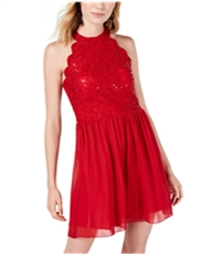 Speechless Womens Sequined Lace A-Line Dress