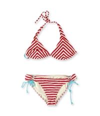 Hobie Womens Striped Textured Side Tie 2 Piece Bikini