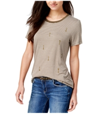 Carbon Copy Womens Striped Arrow-Embroidered Embellished T-Shirt