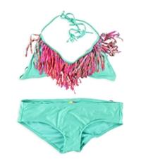 Raisins Womens Fringe Bra Ruched Brief 2 Piece Bikini