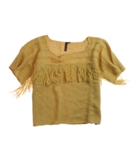Material Girl Womens Fringed Neckline Knit Sweater