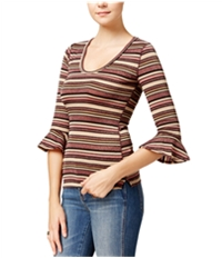 Free People Womens Glittery Ruffled Embellished T-Shirt