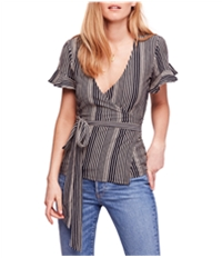 Free People Womens Wrapped Around My Finger Wrap Blouse