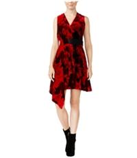Rachel Roy Womens Draped Velvet Fit & Flare A-Line Dress