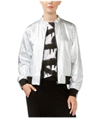 Rachel Roy Womens Metallic Bomber Jacket