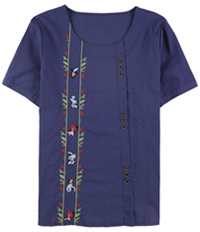 Tags Weekly Womens Floral Embroidery Pullover Blouse