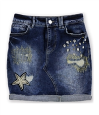 Guess Womens Embellished Denim Mini Skirt