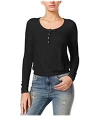Guess Womens Cropped Banded Henley Shirt