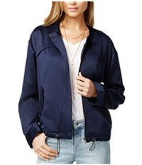 Guess Womens Full-Zip Solid Bomber Jacket