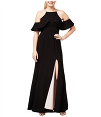 Speechless Womens Ruffled Off-The-Shoulder Gown Dress