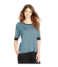 Dkny Womens Striped 3/4 Sleeve Pajama Sleep T-Shirt