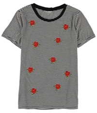 Carbon Copy Womens Embroidered Cactus Striped Embellished T-Shirt