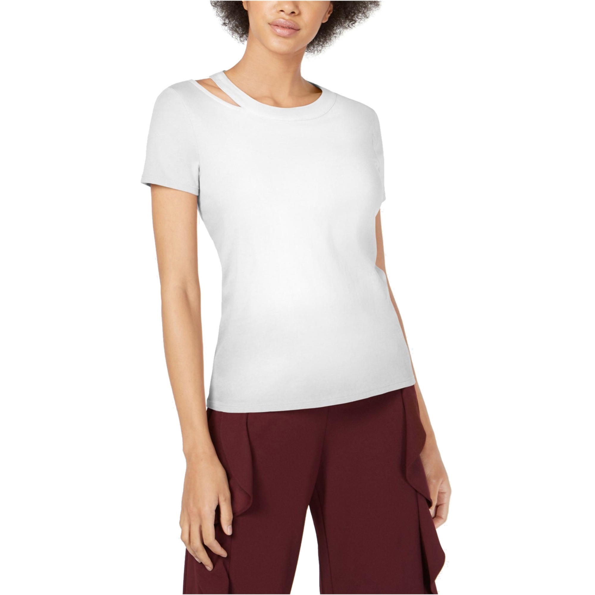 Bar Iii Womens Cutout Basic T-Shirt