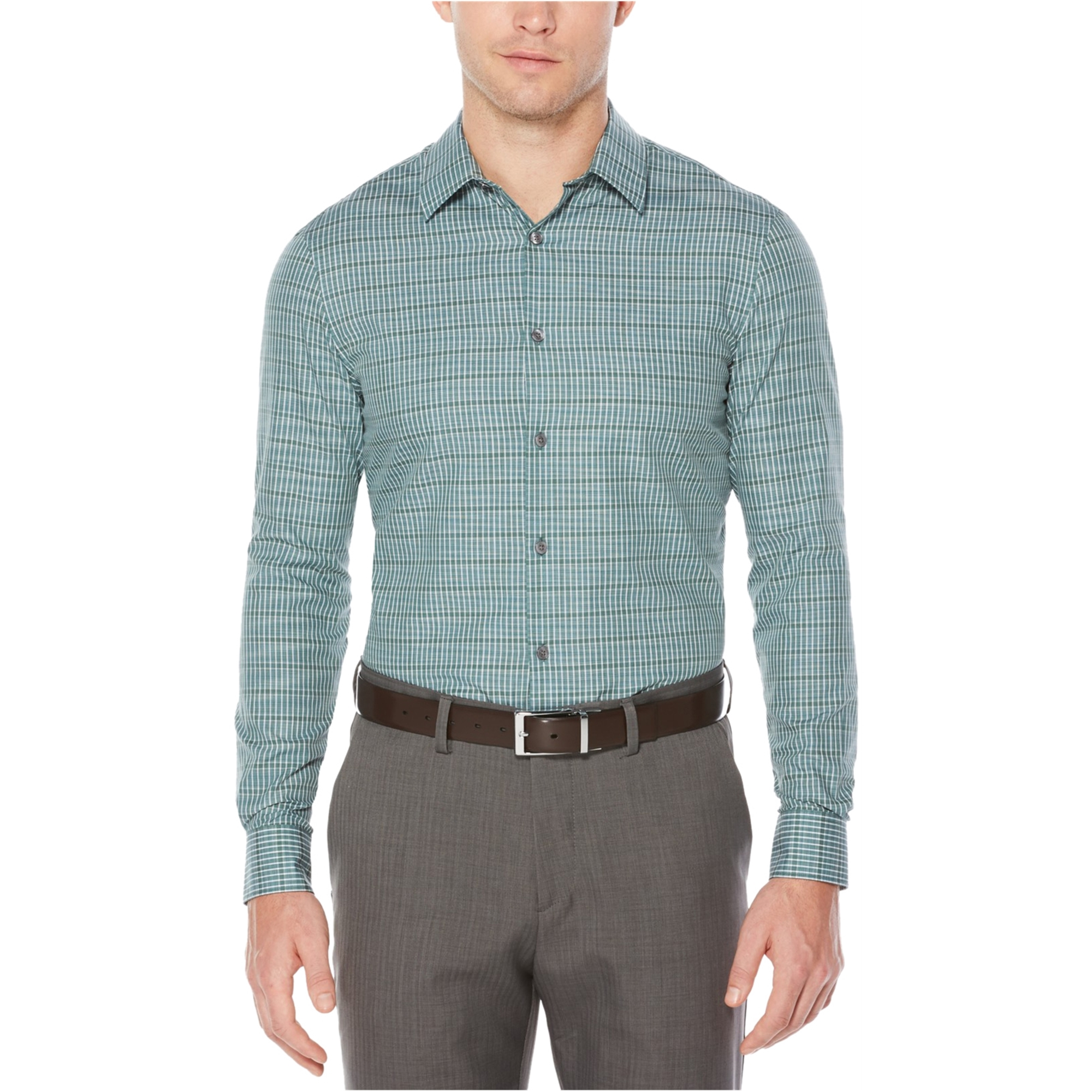 Perry Ellis Mens Ls Check Button Up Shirt