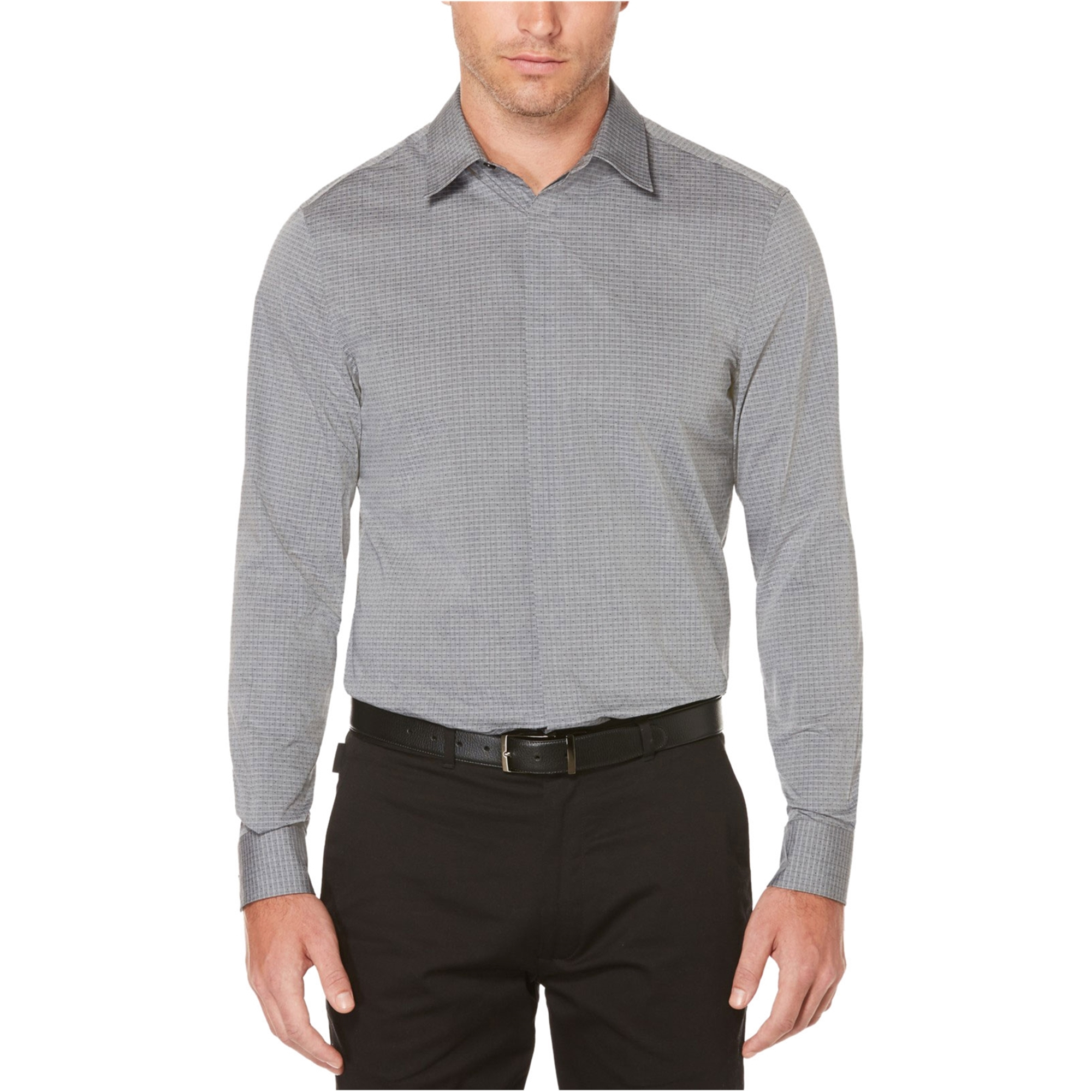 Perry Ellis Mens Dot And Grid Button Up Shirt