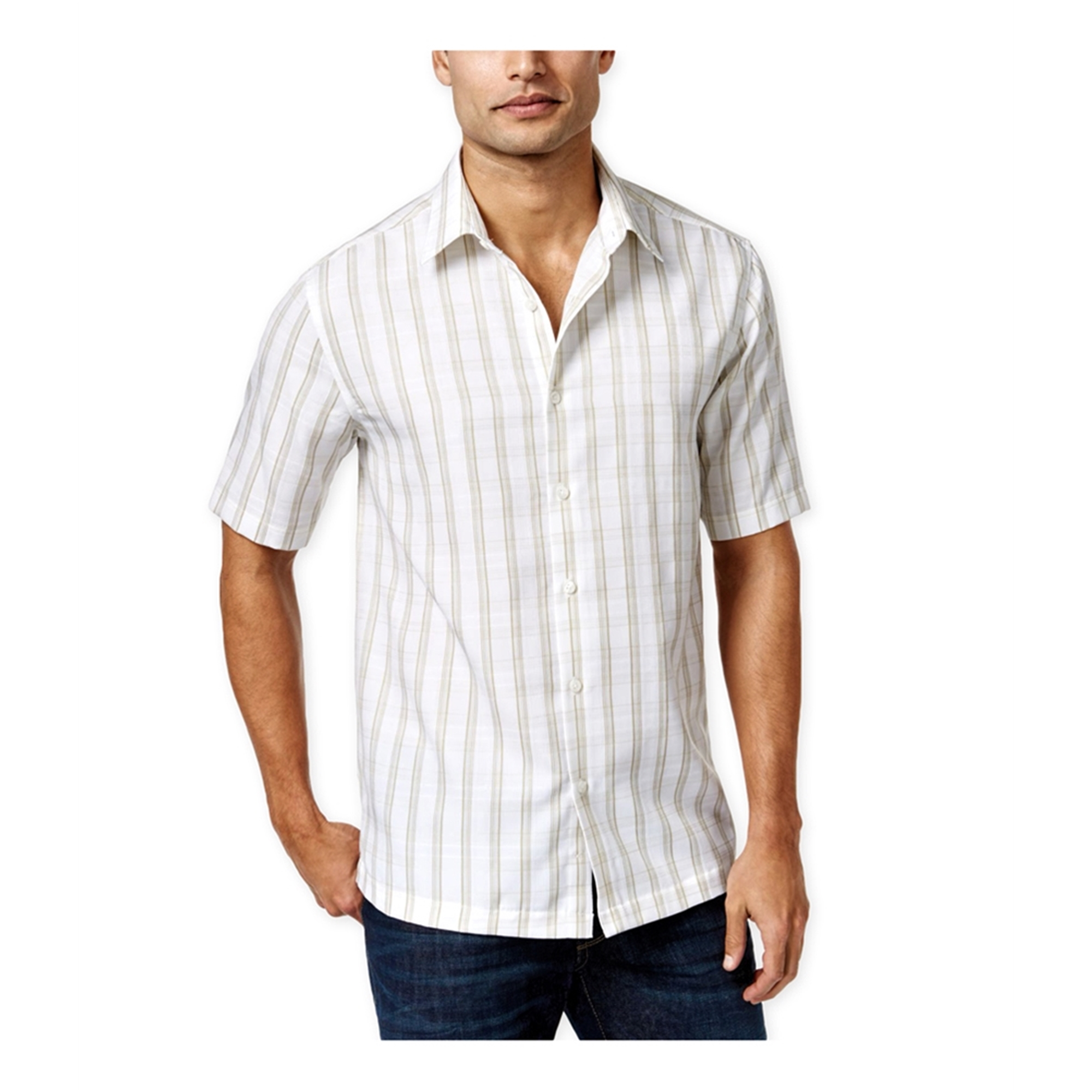 John Ashford Mens Fisher Plaid Ss Button Up Shirt