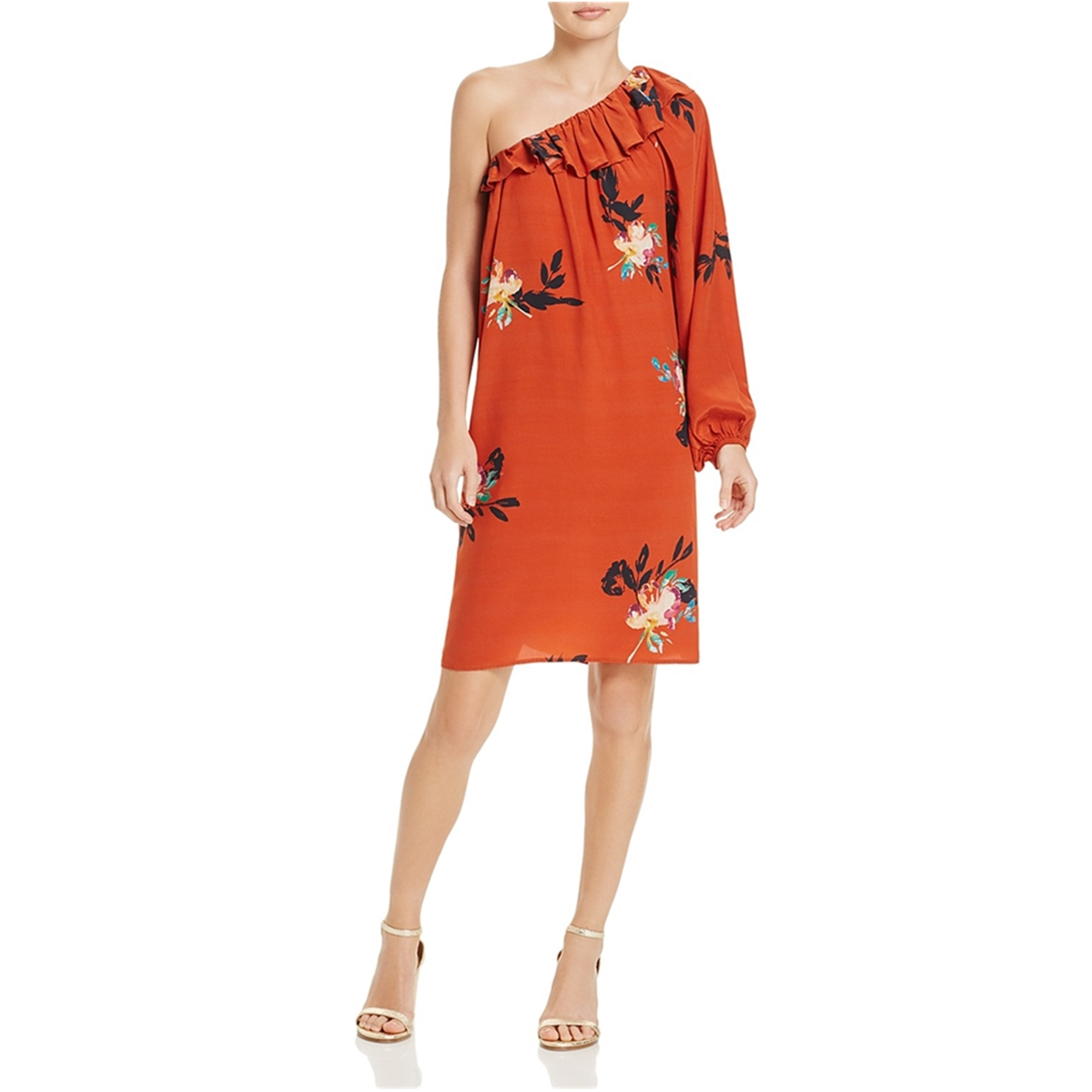 French Connection Womens Long Sleeve One Shoulder Dress