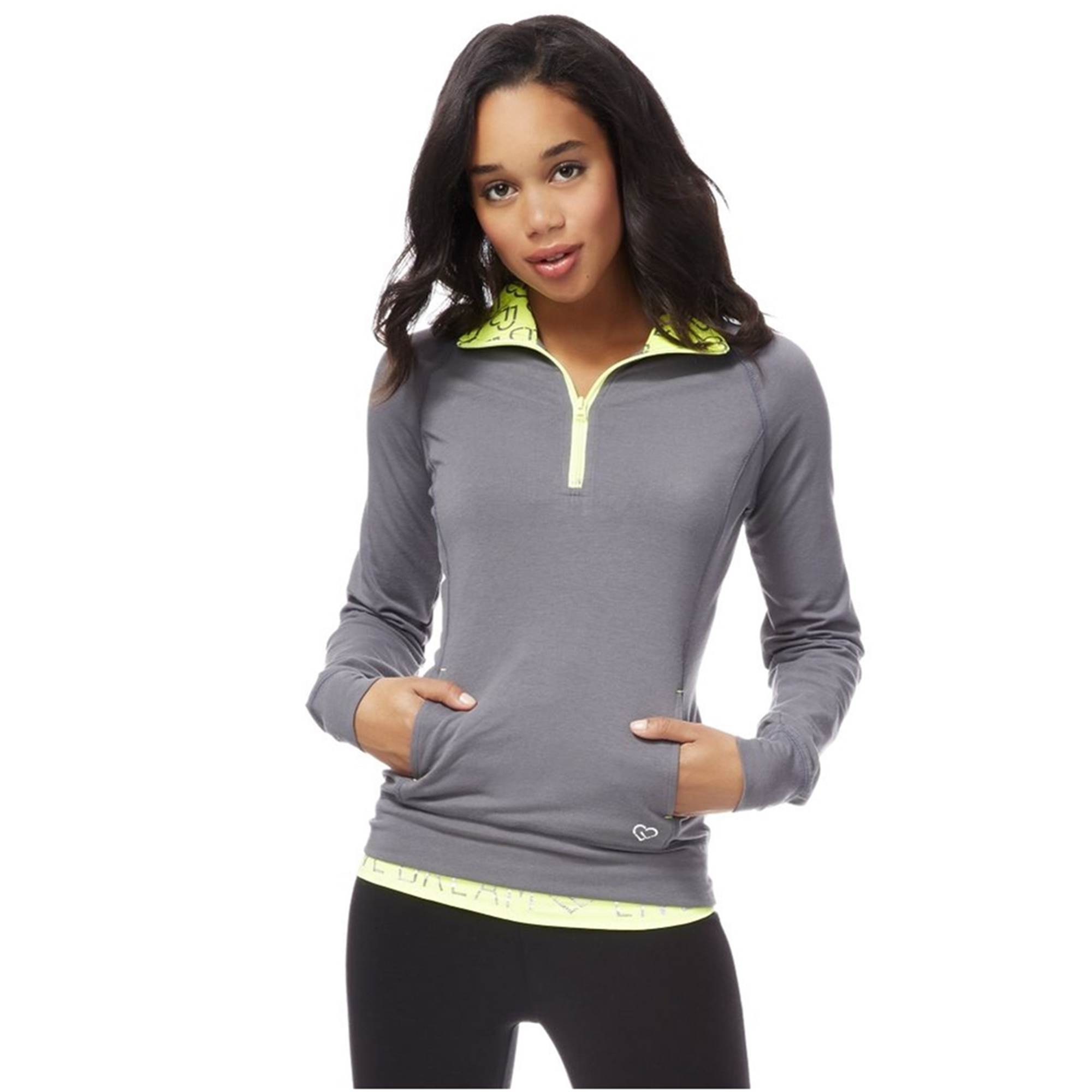 Aeropostale Womens Quarter Zip Pullover Pajama Sleep T-Shirt
