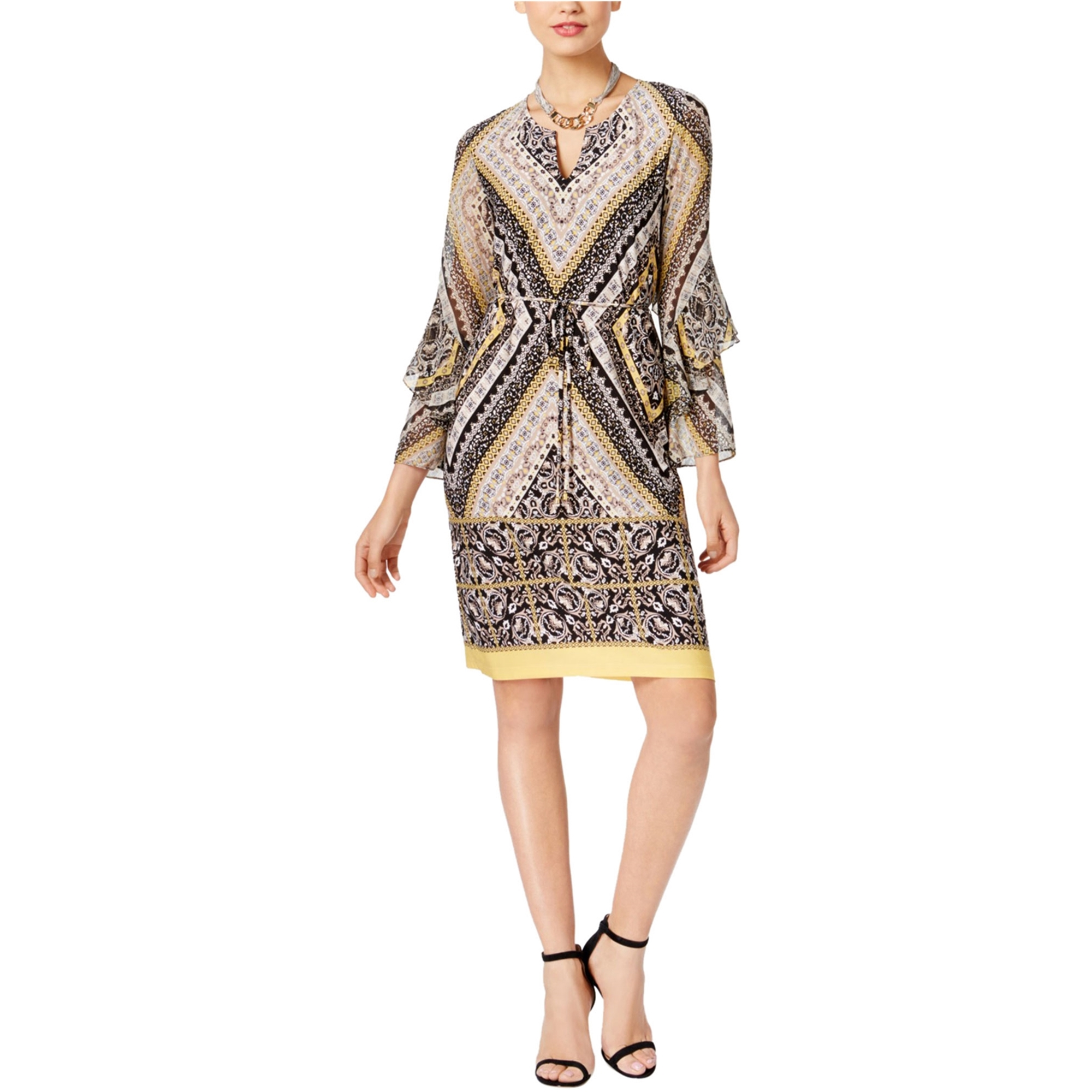 I-N-C Womens Printed Sheath Dress