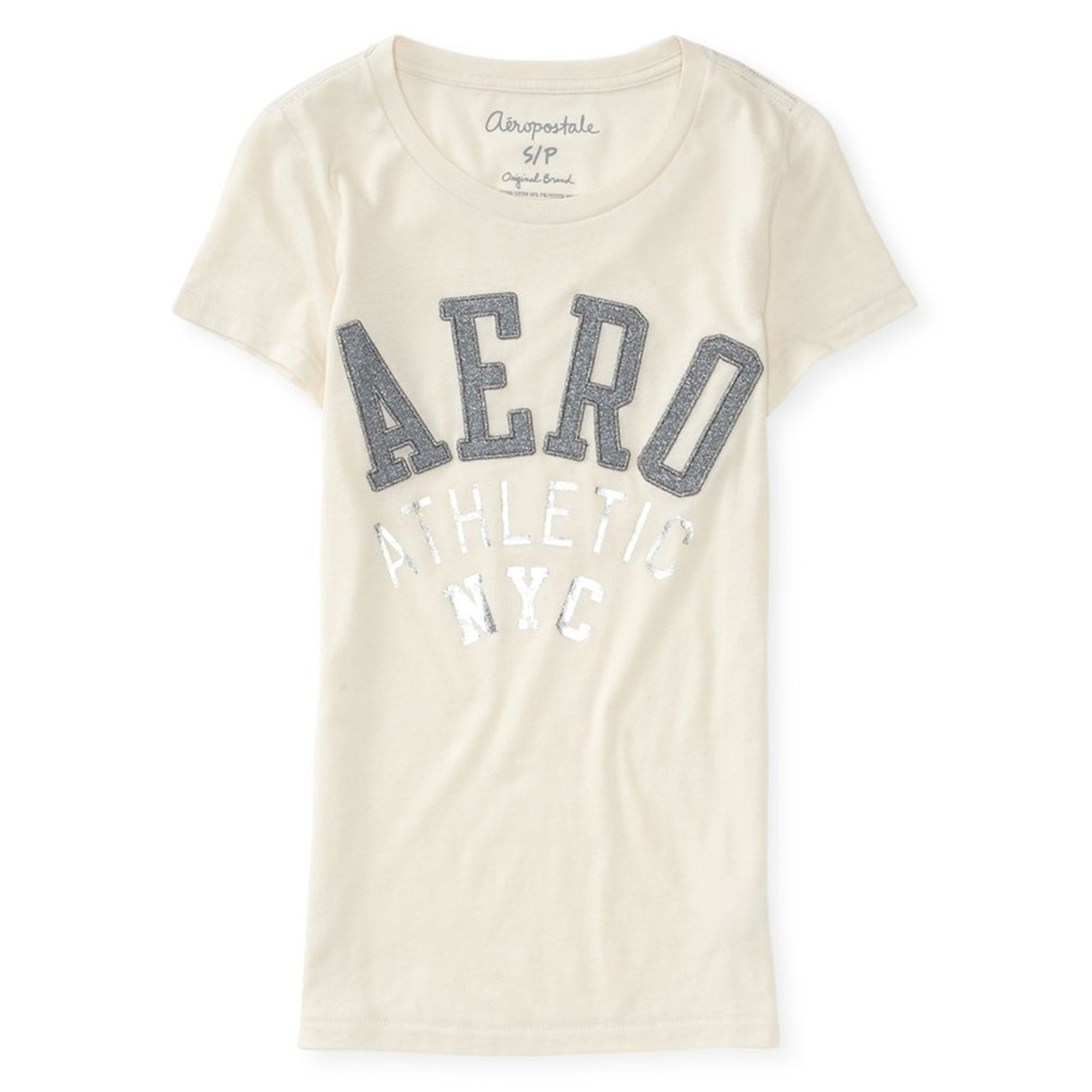 Aeropostale Womens Glitter Embroidered Embellished T-Shirt
