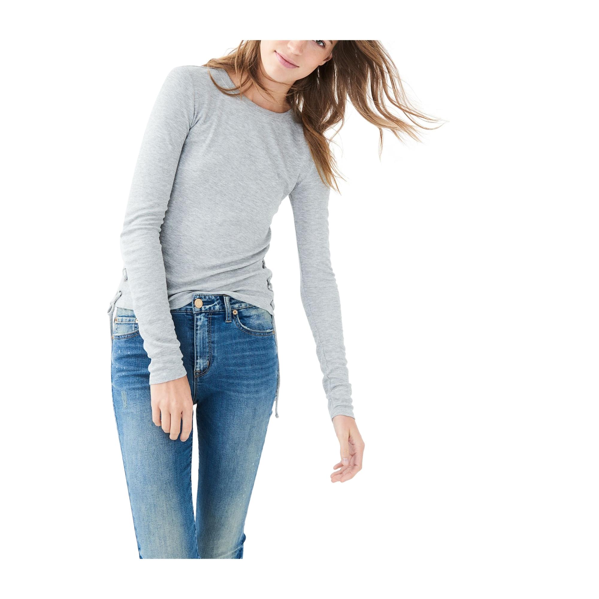 Aeropostale Womens Lace Up Basic T-Shirt
