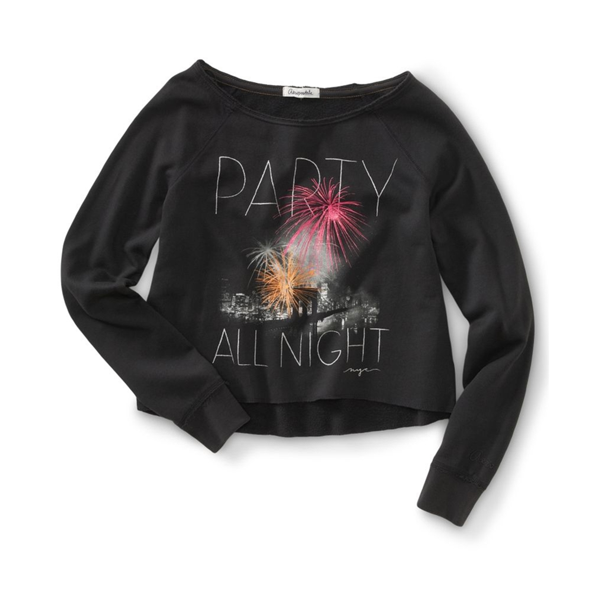 Aeropostale Womens Cropped Party All Night Wide Crew Sweatshirt