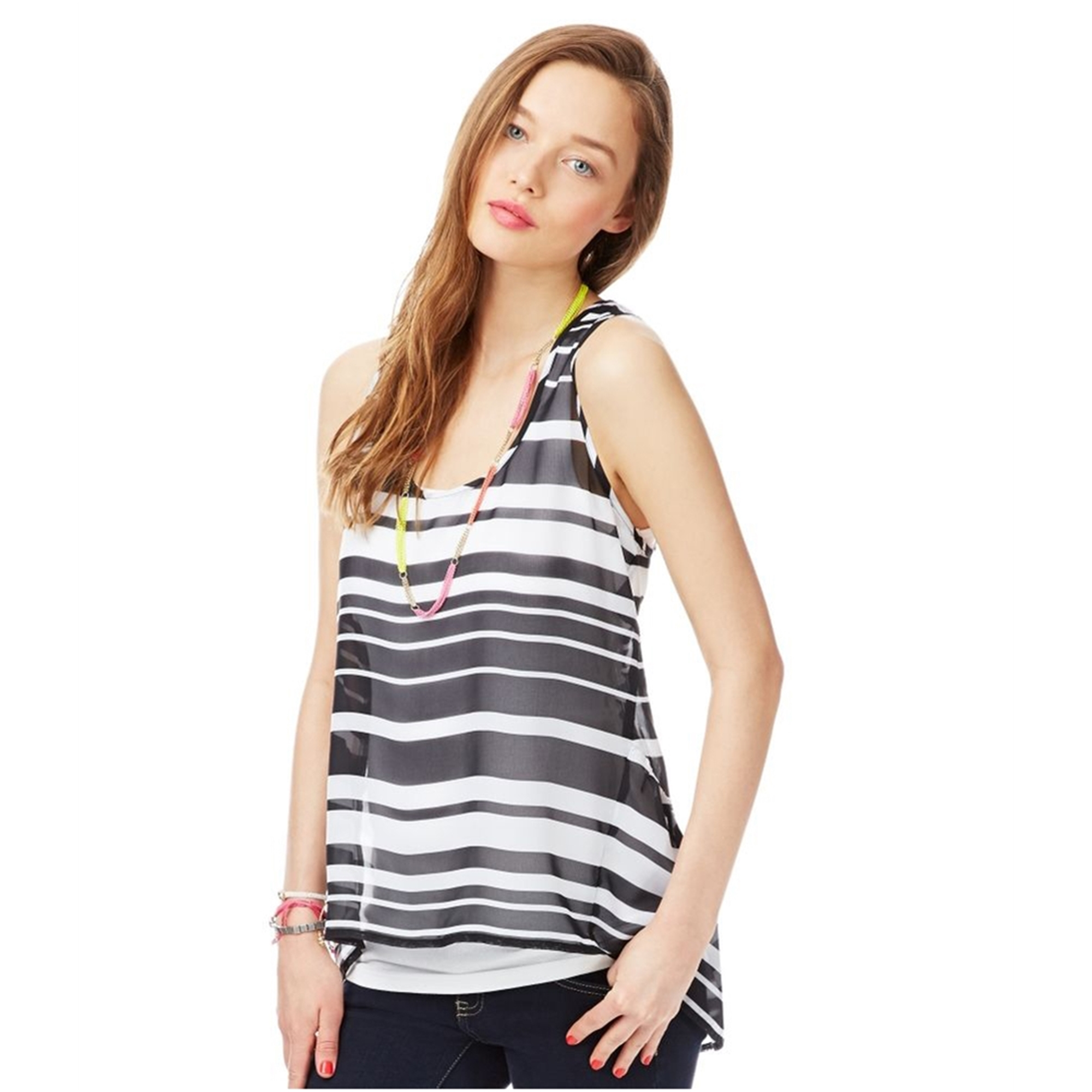 Aeropostale Womens Sheer Striped Extended Back Tank Top
