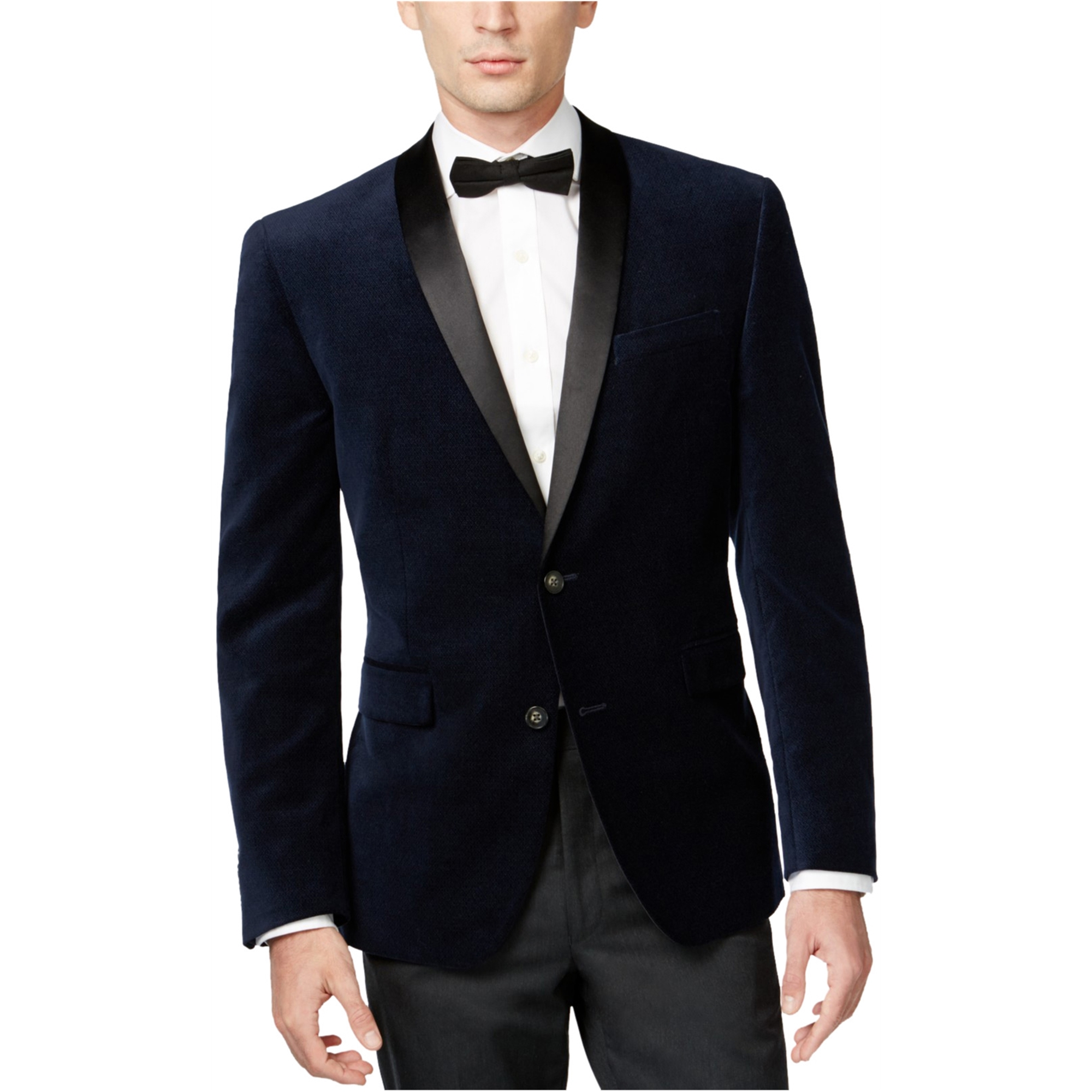Bar Iii Mens Velvet With Satin Two Button Blazer Jacket