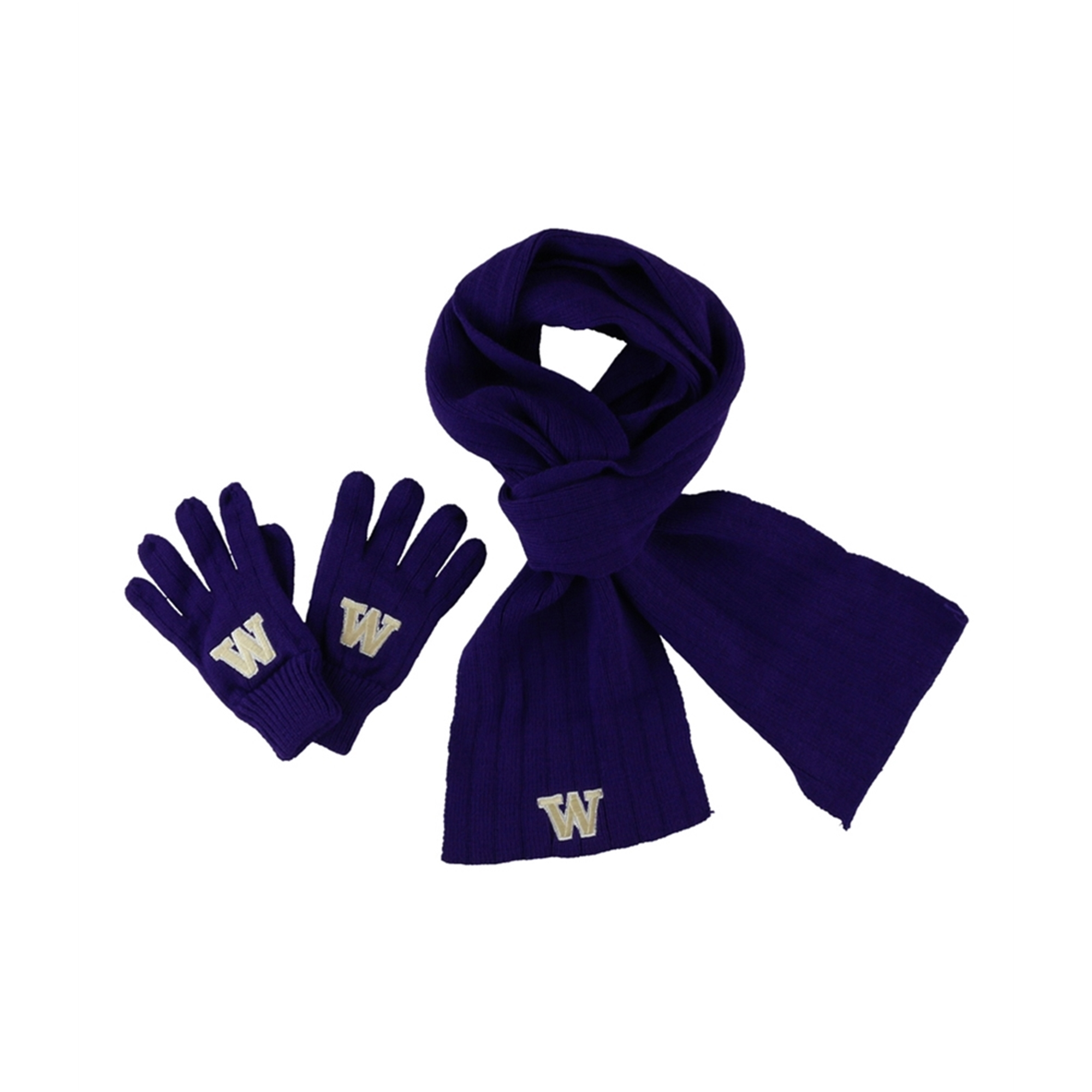 Top of the World Mens Washington Huskies Combo Gloves Scarf