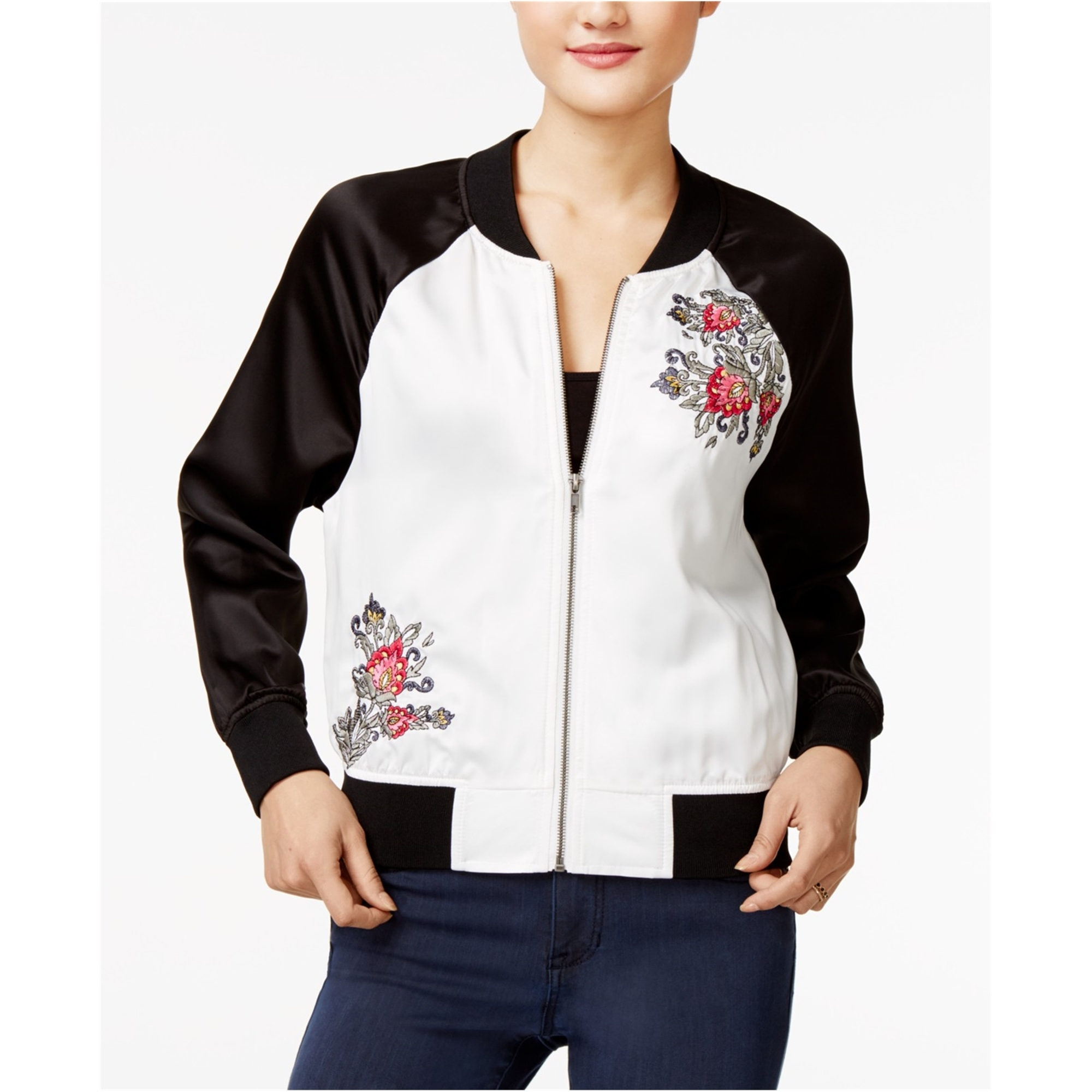 Bcx Womens Embroidered Bomber Jacket