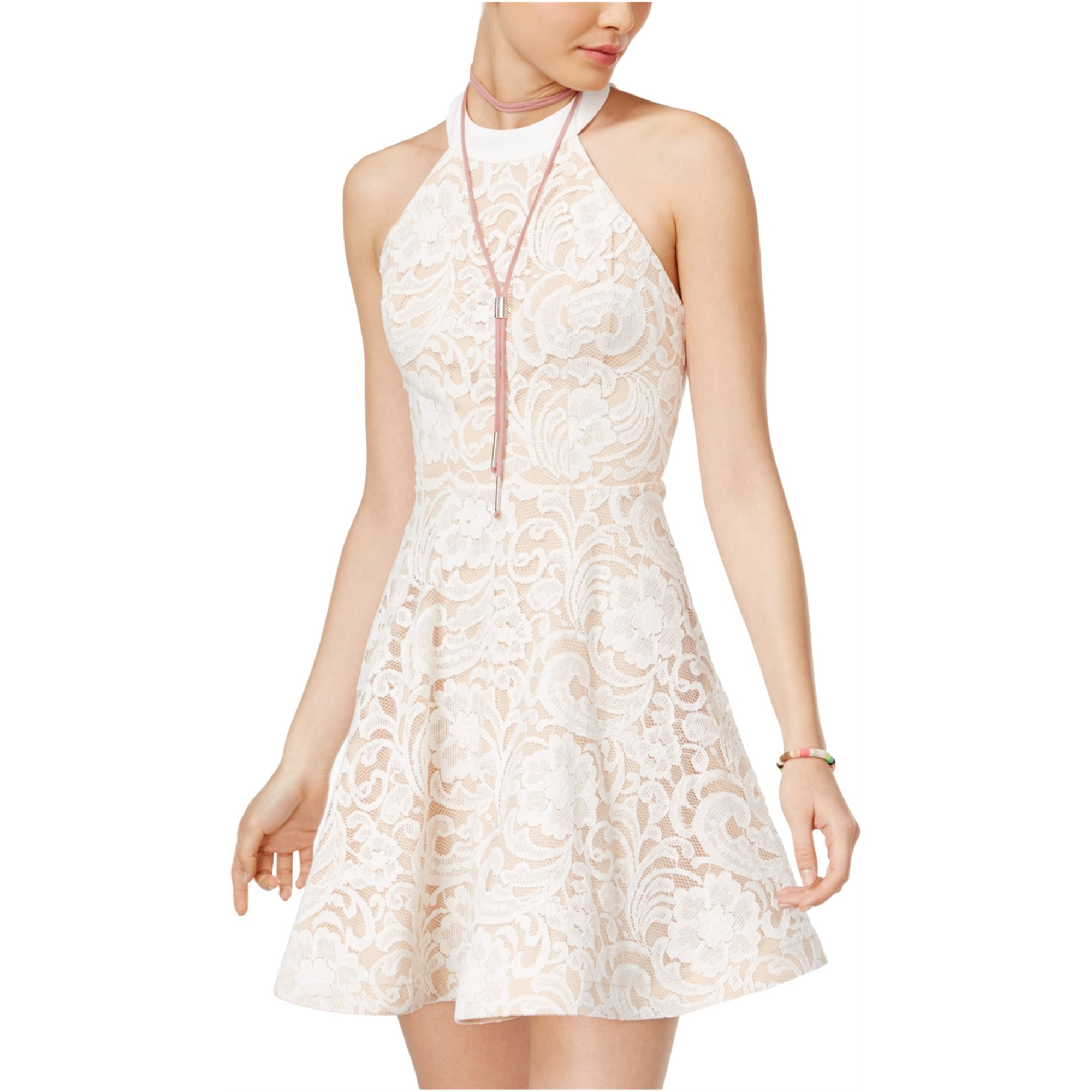 B. Darlin Womens Stappy-Back Lace Fit & Flare Dress