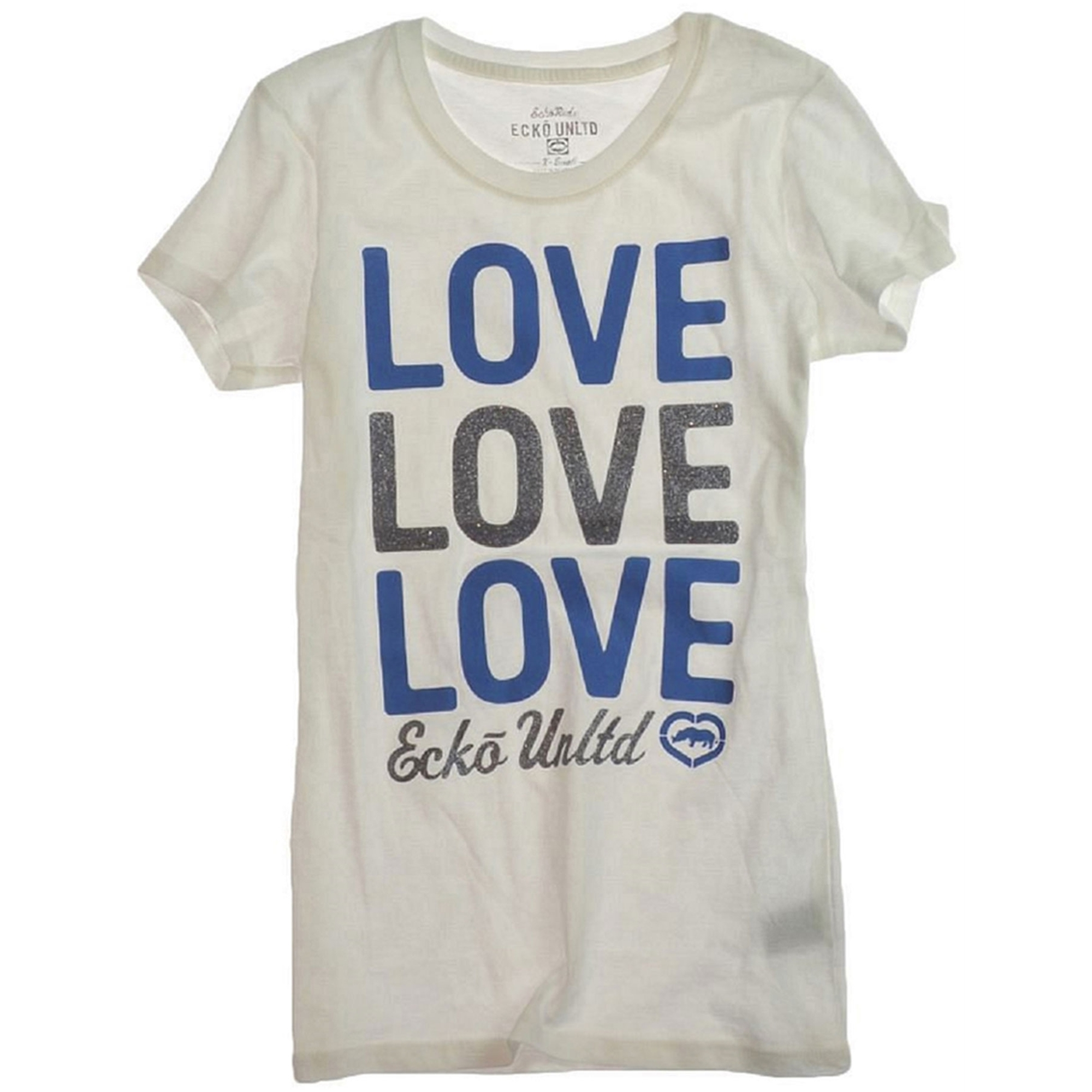 Ecko Unltd. Womens Love Glitter Graphic T-Shirt