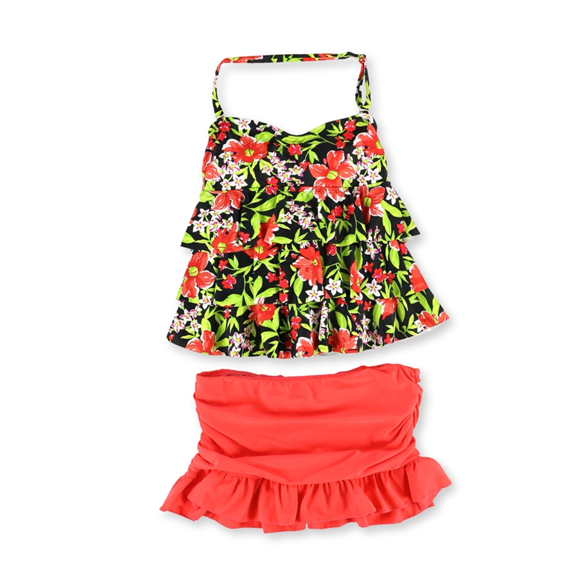 Island Escape Womens Tiered Ruffle 2 Piece Tankini