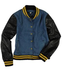 LUE Womens Denim Faux Leather Jean Jacket