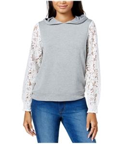 maison Jules Womens Lace-Sleeve Hoodie Sweatshirt