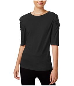 bar III Womens Runched Shoulder Basic T-Shirt