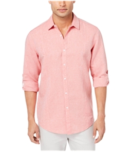 I-N-C Mens Seamed Roll Button Up Shirt